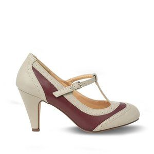 Grey/Red Women's Two Tone T-Strap Pump